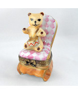 Limoges Box - Teddy Bear on Pink Slipper Chair ... - $74.00