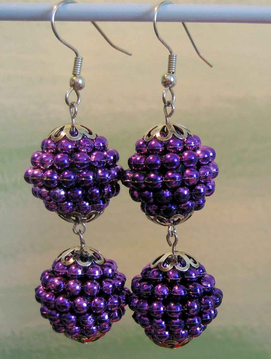 Long Purple Beads Silver Dangle Handcrafted Earrings Vintage