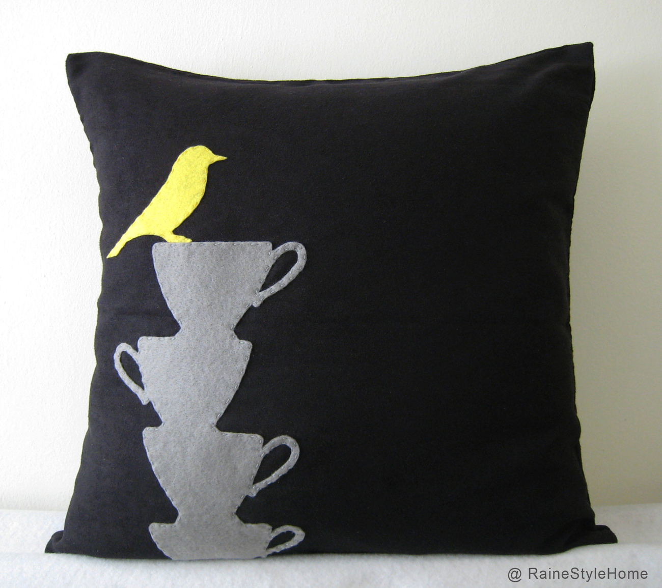 Yellow Bird Resting On Teacups Black Pillow Cover. Tea Time