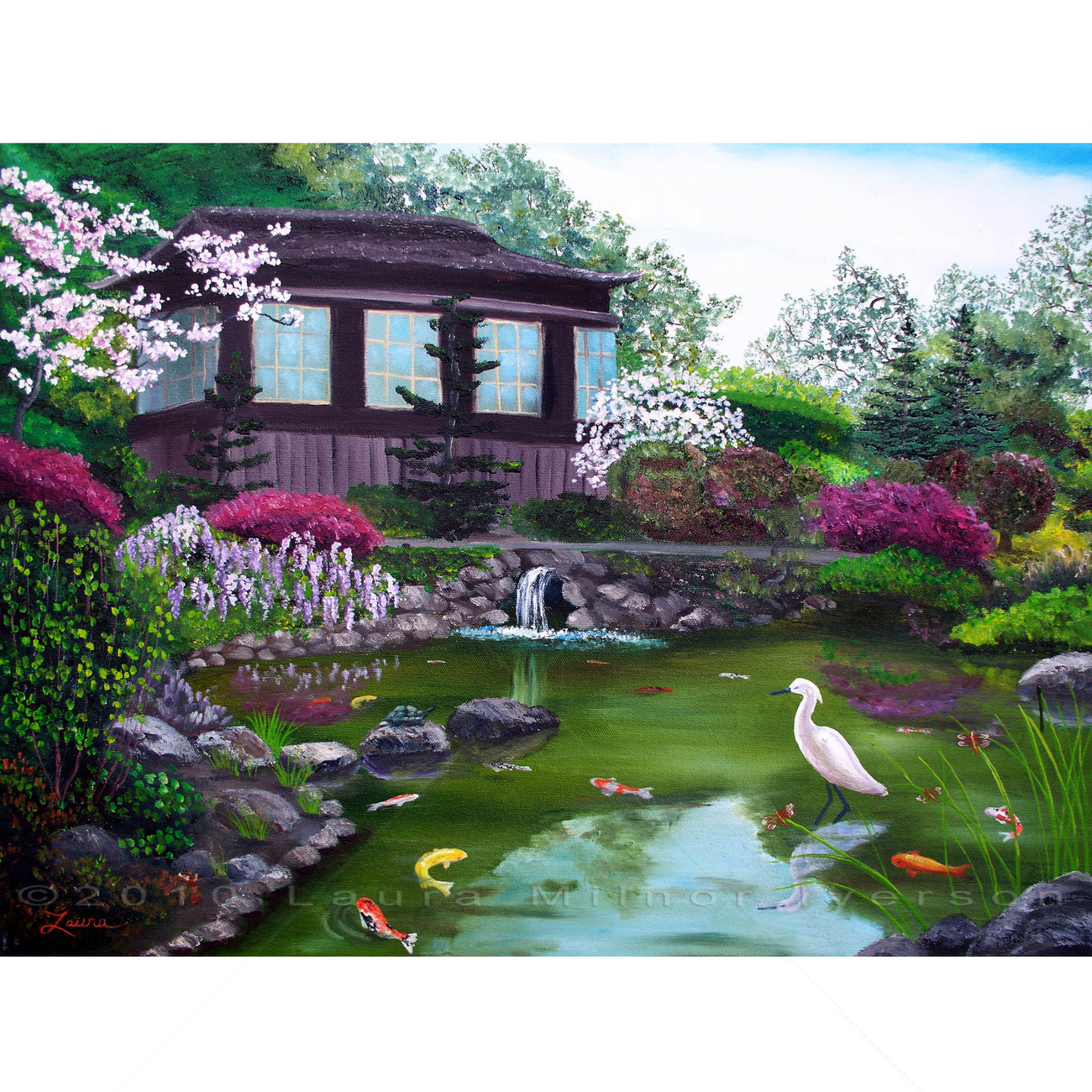 Japanese Koi Pond Teahouse Crane Art Original Oil Painting