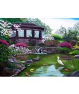 Japanese Koi Pond Teahouse Crane Art Original O... - $899.00