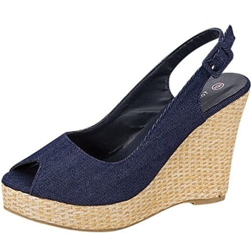 Top Moda open toe platform 4 inch wedge heel slingback canvas pumps blue denim