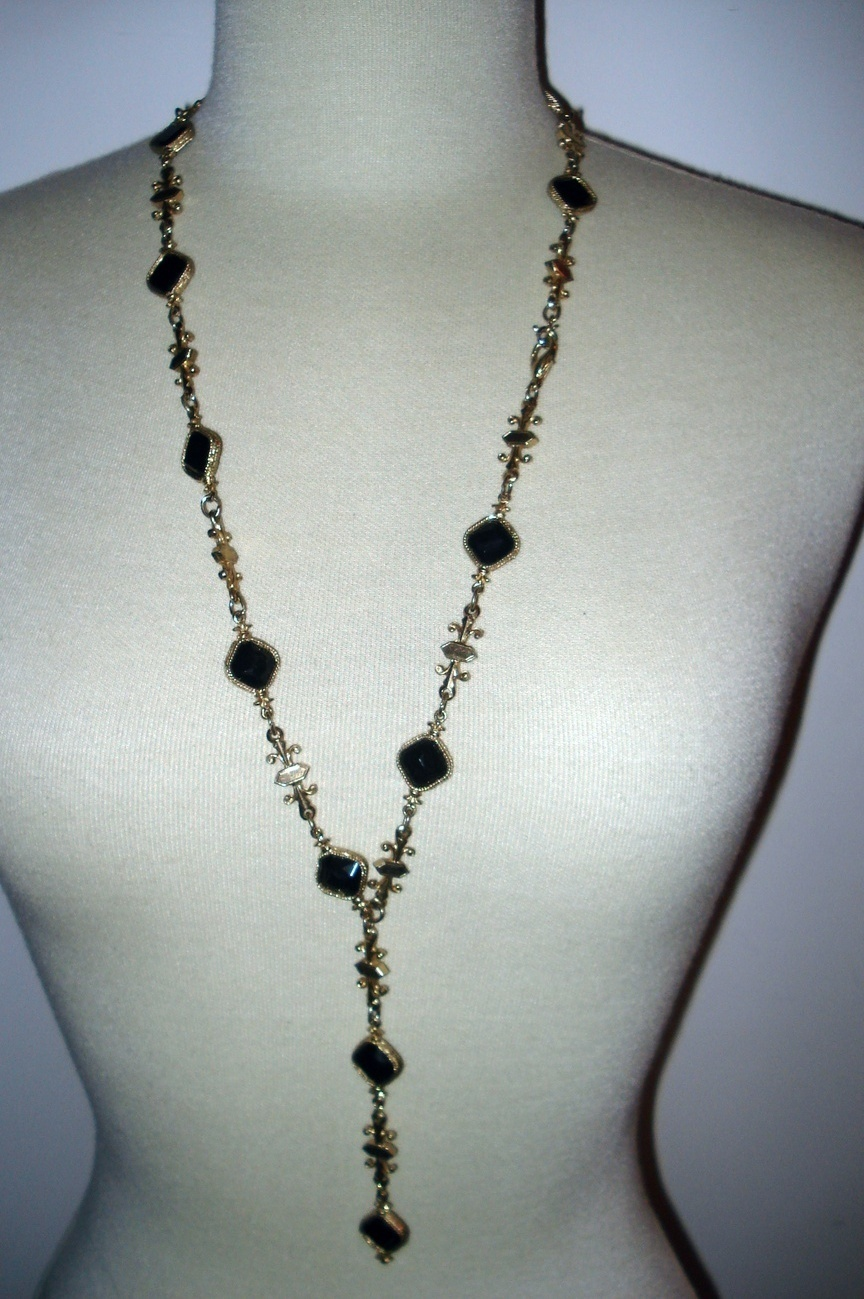 gold and black stone lariet necklace