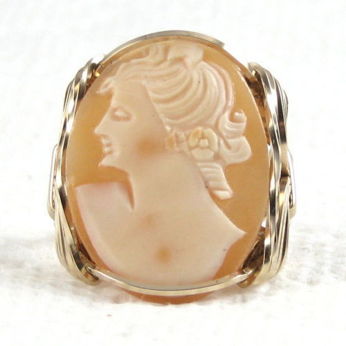 Hand Carved Cornelian Shell Cameo Ring 14K Rolled Gold