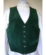 Vest, Misses Medium, Dark Green Suede  w/Paisle... - $45.00