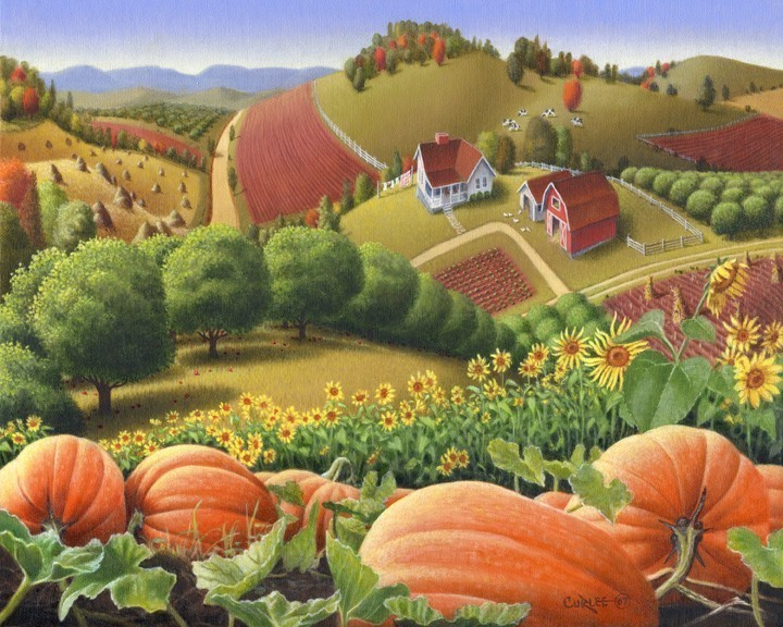 oil painting: folk art Pumpkins Country Farm Rural Life Americana Curlee