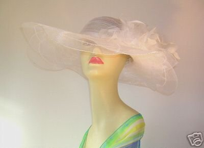Ladies White Wedding Kentucky Hat Church Derby HATS