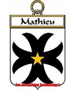 Mathieu French Coat of Arms Mathieu Family Crest - $25.00