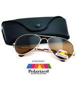 POLARIZED AVIATOR Sunglasses GOLD Fishing Outdoor Glare Blocking - AVPOL / CASE 