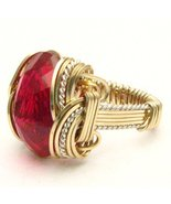 Wire Wrap Man Made Ruby Two Tone Silver / 14kt ... - $175.00