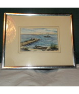 Water Color Original Signed Lake Boats Birds Bl... - $12.00