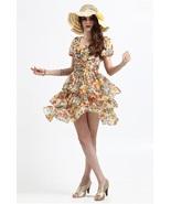 NWT Rose pattern Silk chiffon Waist belted dress - $68.00