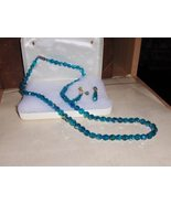 Vintage Blue Aurora Borealis Necklace and Earri... - $149.00
