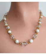Baroque Vintage Cut Glass Crystal & Shell Necklace - $23.95