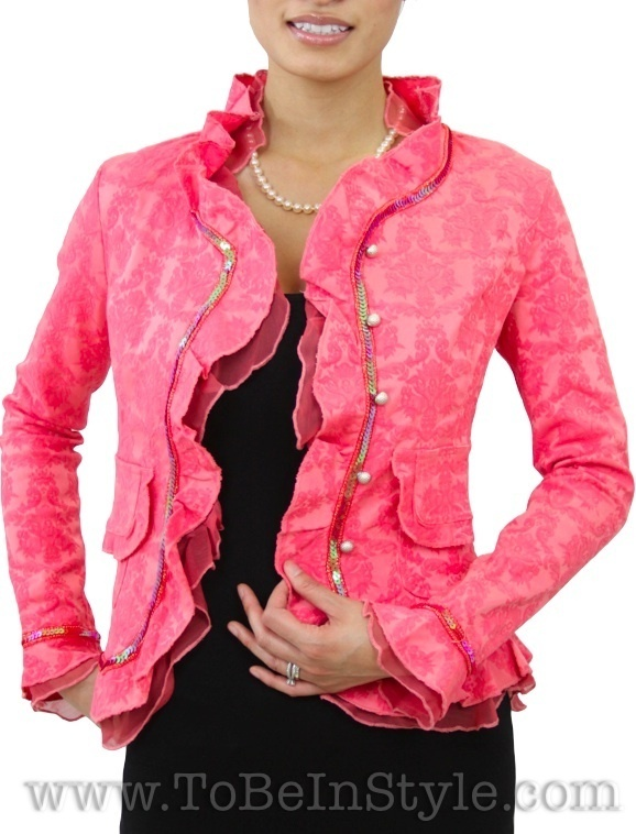 Medium Pink Fashion Jacket Ruffle Blazer Dressy Top T40