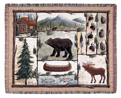 "60"" Lodge Bear Moose Wildlife Tapestry Throw Afghan Blanket"