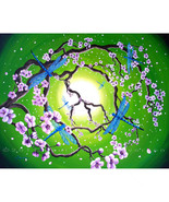 Original Painting Green Peace Sign Tree Blue Dr... - $799.00
