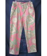 8 Lauren Ralph Lauren Pink Paisley Stretch Jean... - $15.99