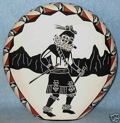 ACOMA PUEBLO NATIVE AMERICAN INDIAN POTTERY VASE Concho