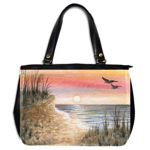 Office Handbag bag from art painting Sea View 168 ocean