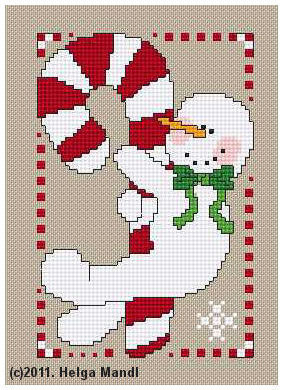 Candy Cane Snowman holiday PDF cross stitch chart Helga Mandl Designs