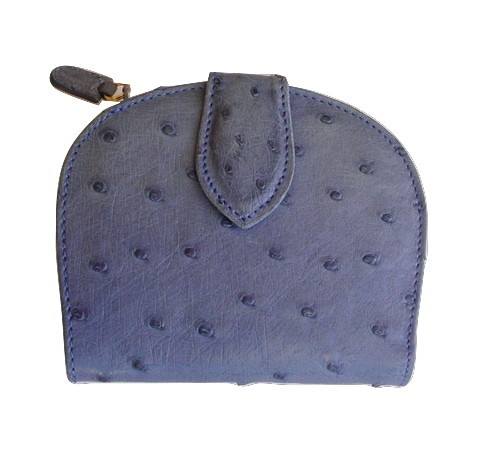 Blue Ostrich Wallet Missori Italy Classic Ladies Billfold & Change Purse Elegant