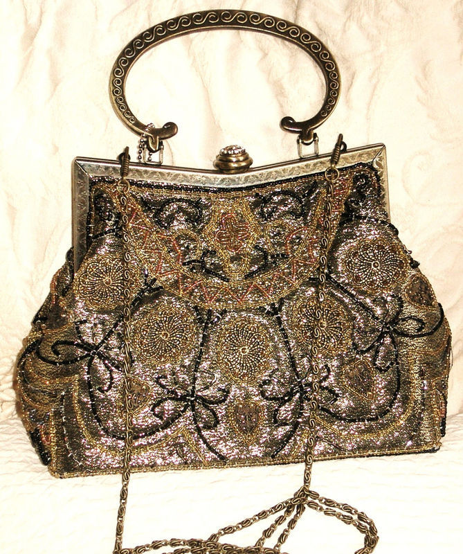 Evening Vintage Style Beaded Purse Antiqued Brass Frame  Equisite  NWT