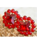 Vintage Rhinestone Earrings Ruby Red Flower Rou... - $22.95