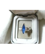 Vintage SARAH COVENTRY Ring w/Blue Marquise Rhi... - $8.99