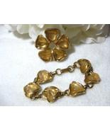 Vintage Quartz Flower Brooch w/Matching Bracele... - $14.99