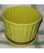 Vintage Signed McCoy Pottery Yellow Bamboo Pot ... - $19.99