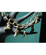 Brass tone metal PEACE Charm Bracelet - shoes a... - $9.00