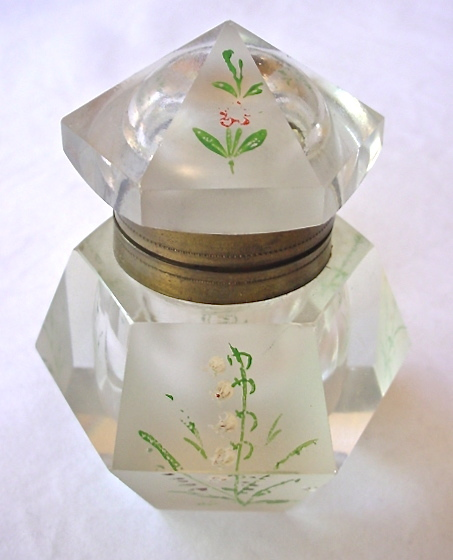 Antique Crystal Inkwell Lidded Painted Floral Hexagonal Ink Pot Etched Brass