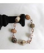 Copper Bracelet with Hand-Cut Feldspar Beads RK... - $95.00