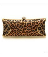 2012 New Style Animal Leopard 100% Silk Swarovski Crystal Evening Clutch Bag  - $98.00