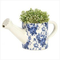 Flower Pot Ceramic Blue Floral Watering Can Planter