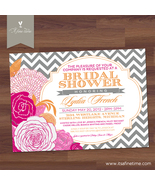 Bridal Shower Invitation - Chevron Floral - Vintage Typography - Printable