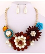 Chunky statement flower necklace set  ivory, br... - $23.75