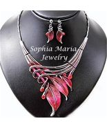 Designer look red metal leaves necklace set cry... - $20.78