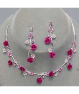 Fuchsia Pink Flower Crystal Bridesmaid Prom Wed... - $19.79