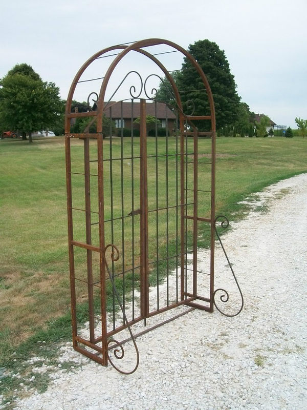 Entry Garden Arbor and Gate Combination with 6' Gate, Wrought Iron Trellis