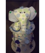 Blue ELEPHANT Baby Boy Shower Gift Diaper Cake ... - $48.00