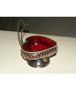 Vintage Jam Dish Ruby Red Chromium Heart English - $14.99