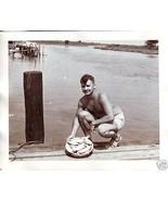 Vintage Photo SEXY Shirtless Muscle MAN w Bowl ... - $6.00