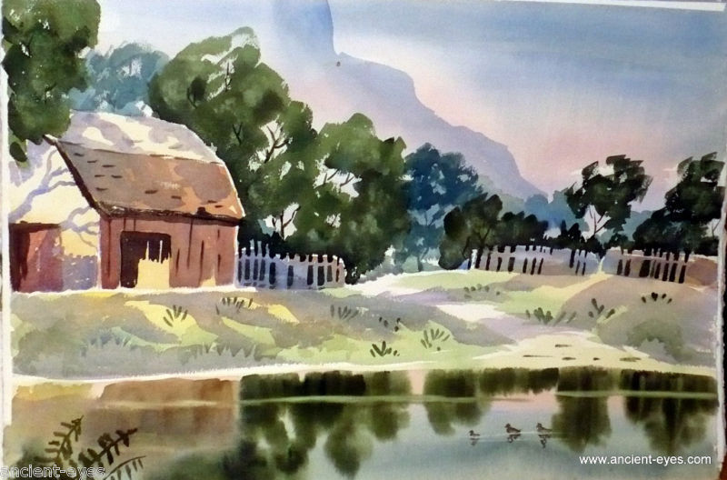 1940s California School Watercolor: Barn by Lake
