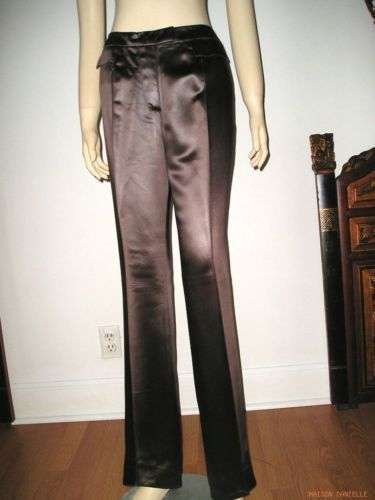 Nwt JOHN GALLIANO Paris Chocolate Brown Satiny Cotton Bootcut PANTS 42/8