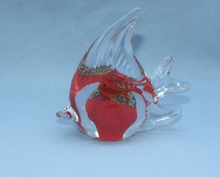 Blown Glass Fish Art Paperweight
