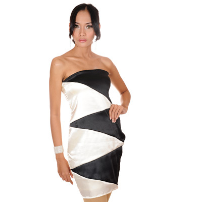Sophistix - Melissa Black and Cream Satin Bustier Dress : Sizes S M L XL
