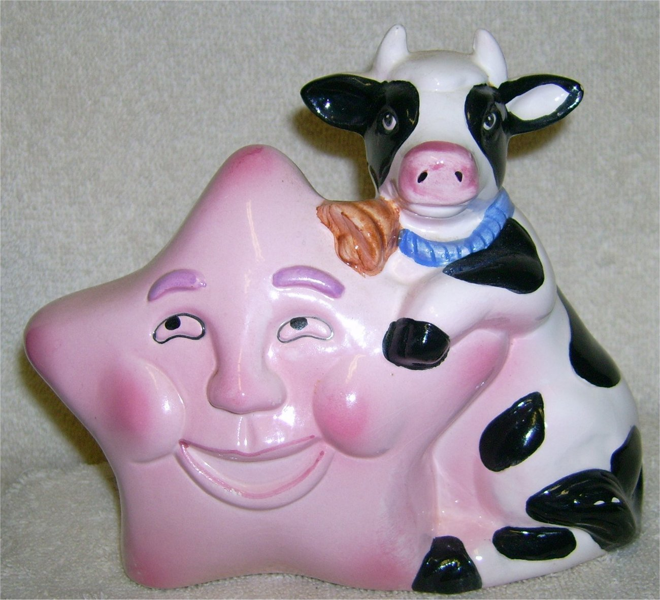 Adorable Cow and Star Ceramic Bank
