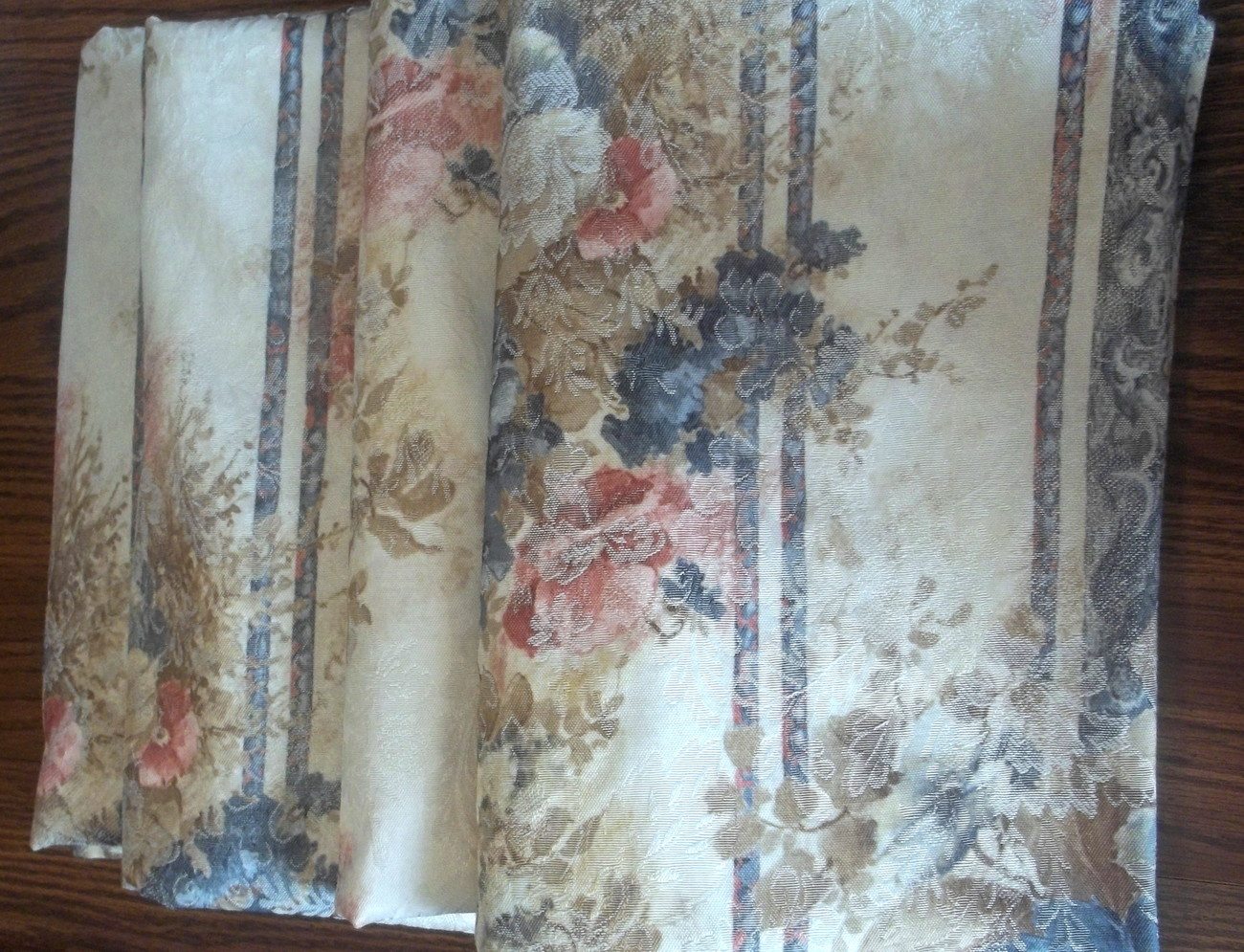 Drapes JC Penney 11935 Cream Blue Pink 24 x 62 Lot of 4 - Curtains ...